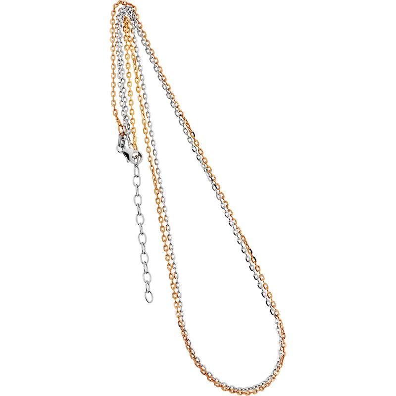 Collierkette zweireihig Spiegelanker 925/- rhodiniert, rosévergoldet