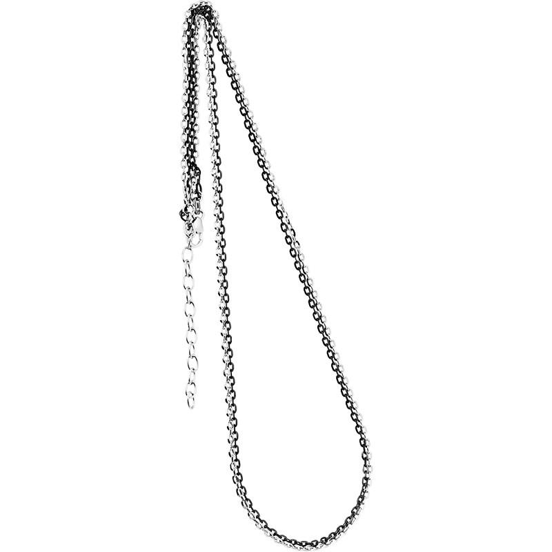 Collierkette zweireihig Spiegelanker 925/- rhodiniert, schwarz