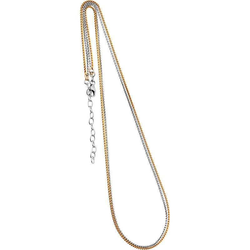 Collierkette zweireihig Venezianer 925/- rhodiniert, rosévergoldet