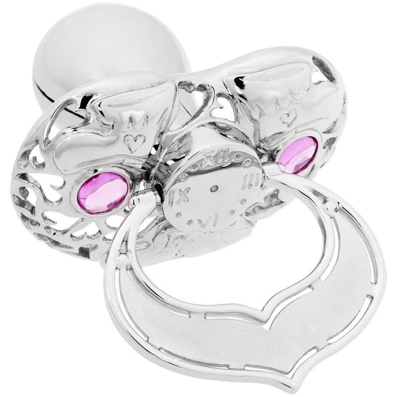 Lollino Klassik, Motiv Babyschuhe, strahlender Zirkonia rosa