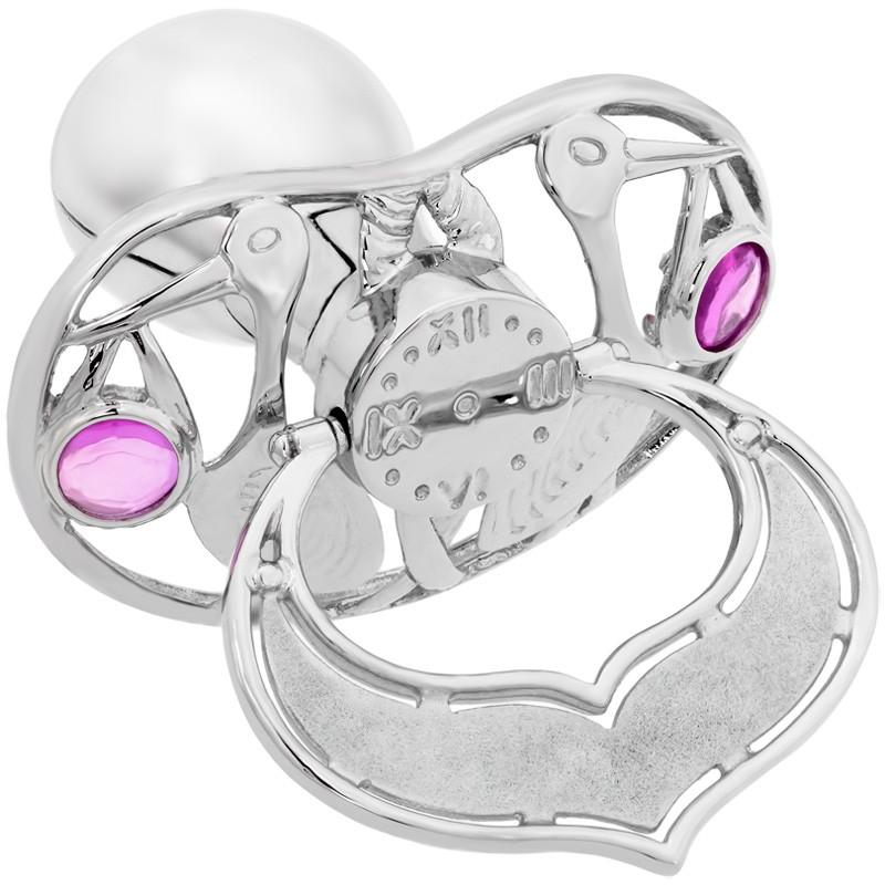Lollino Klassik, Motiv Storch, strahlender Zirkonia rosa