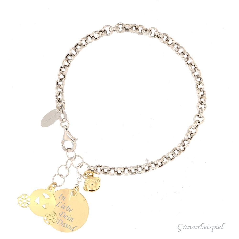 Armband mit Gravur - Fortuna, 925er Sterling Silber rhodiniert mit 18kt vergoldet