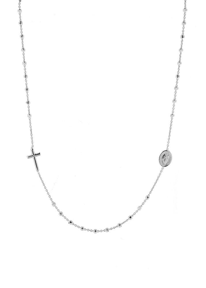 Taufschmuck, Rosenkranz, 925er Sterling Silber rhodiniert