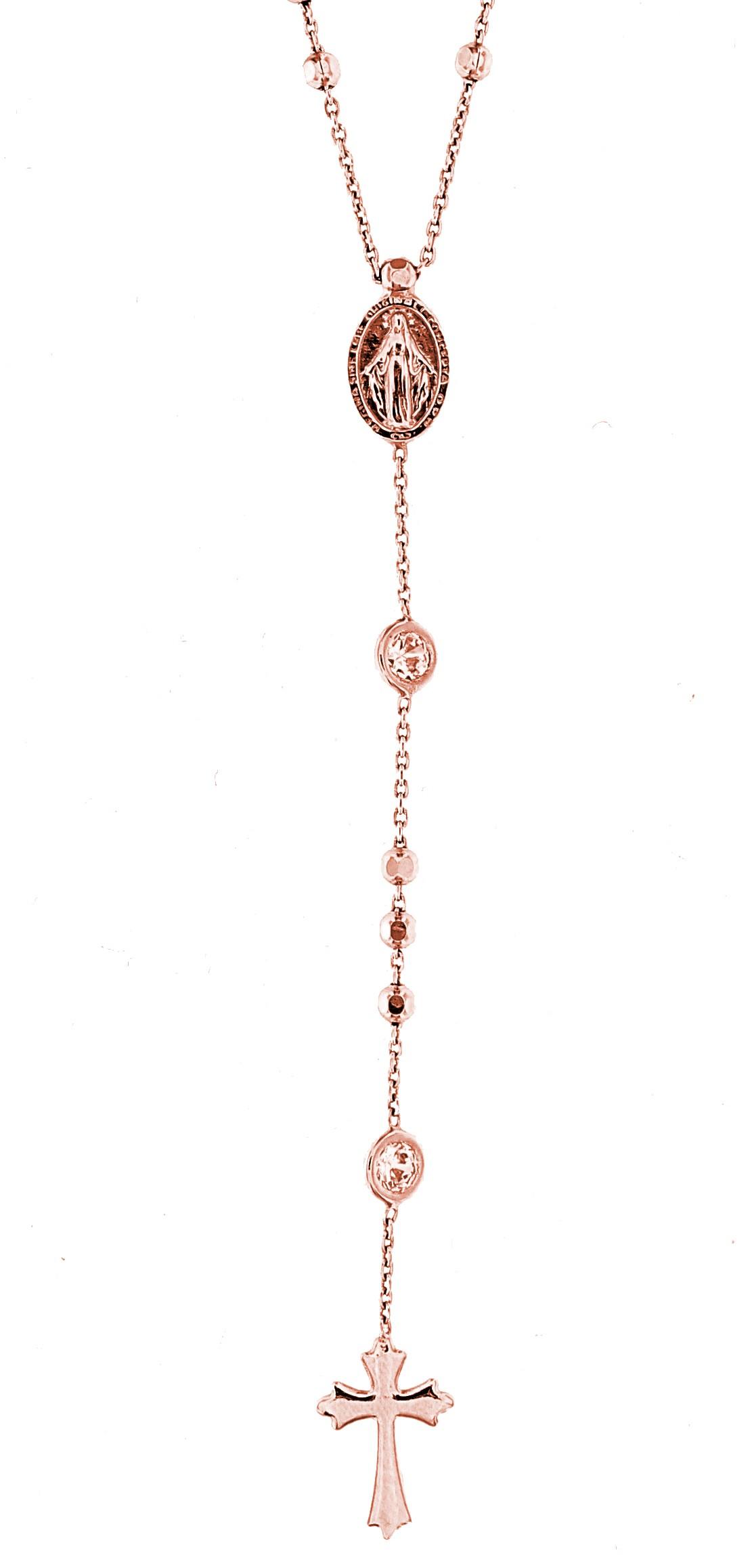 Rosenkranz  Madonna, 925er Sterling Silber 18k Rosé vergoldet