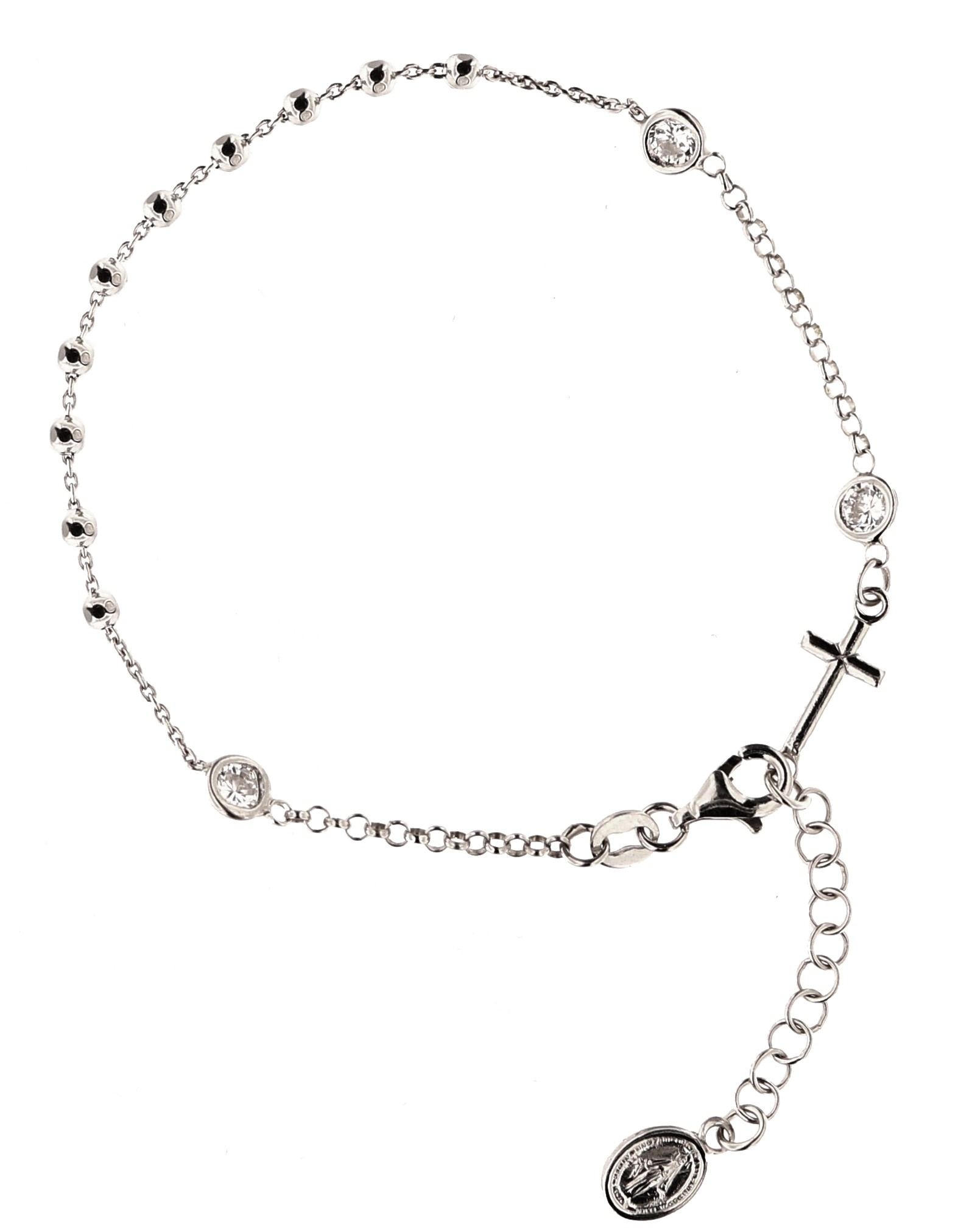Armband mit Kreuz - Madonna, 925er Sterling Silber rhodiniert