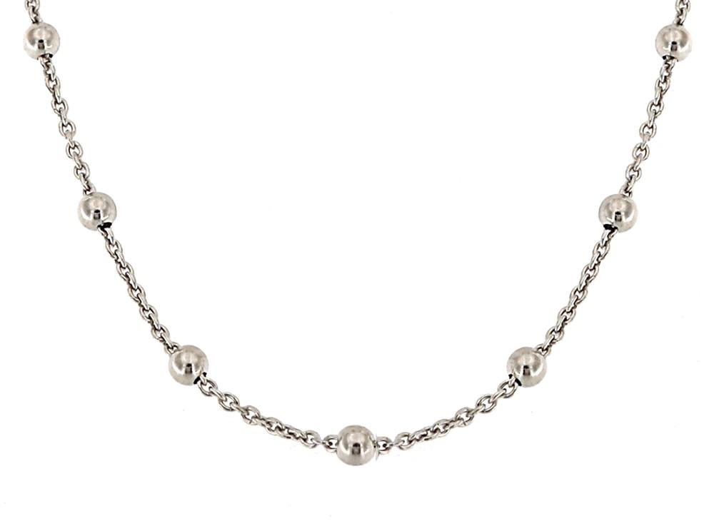 Collierkette mit Kugeln 43+5cm, 925er Sterling Silber rhodiniert