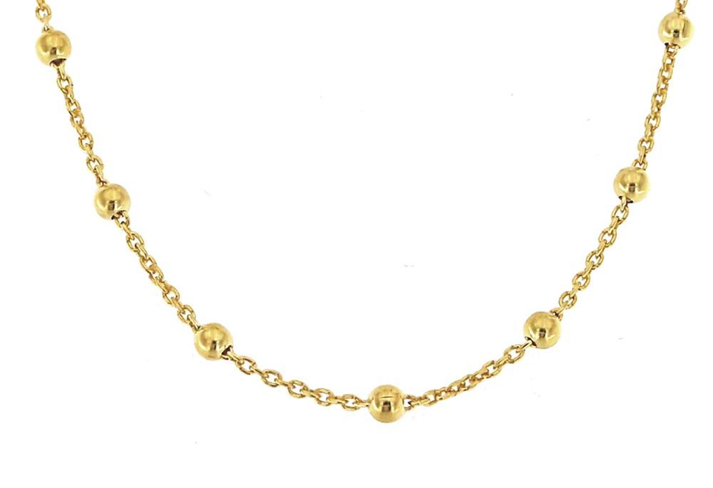 Collierkette mit Kugeln 60cm, 925er Sterling Silber 18kt vergoldet