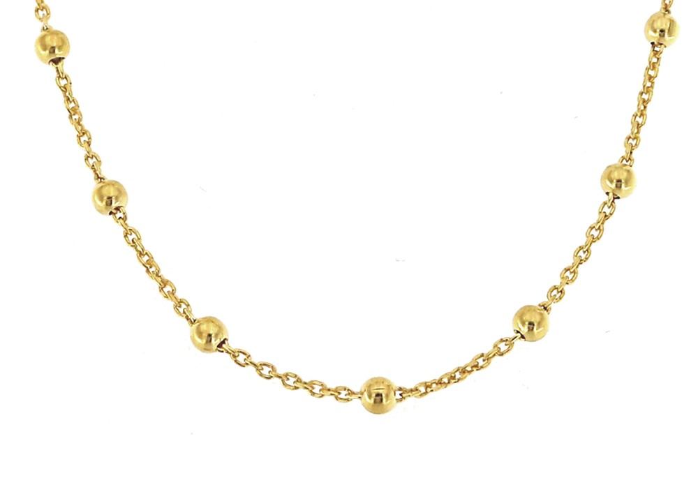 Collierkette mit Kugeln 90cm, 925er Sterling Silber 18kt vergoldet