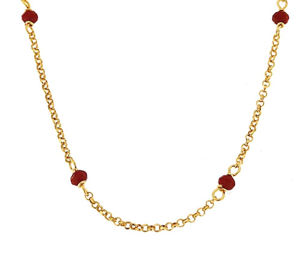 Kette mit Zirkoniasteinen 90cm, 925er Sterling Silber 18kt  vergoldet