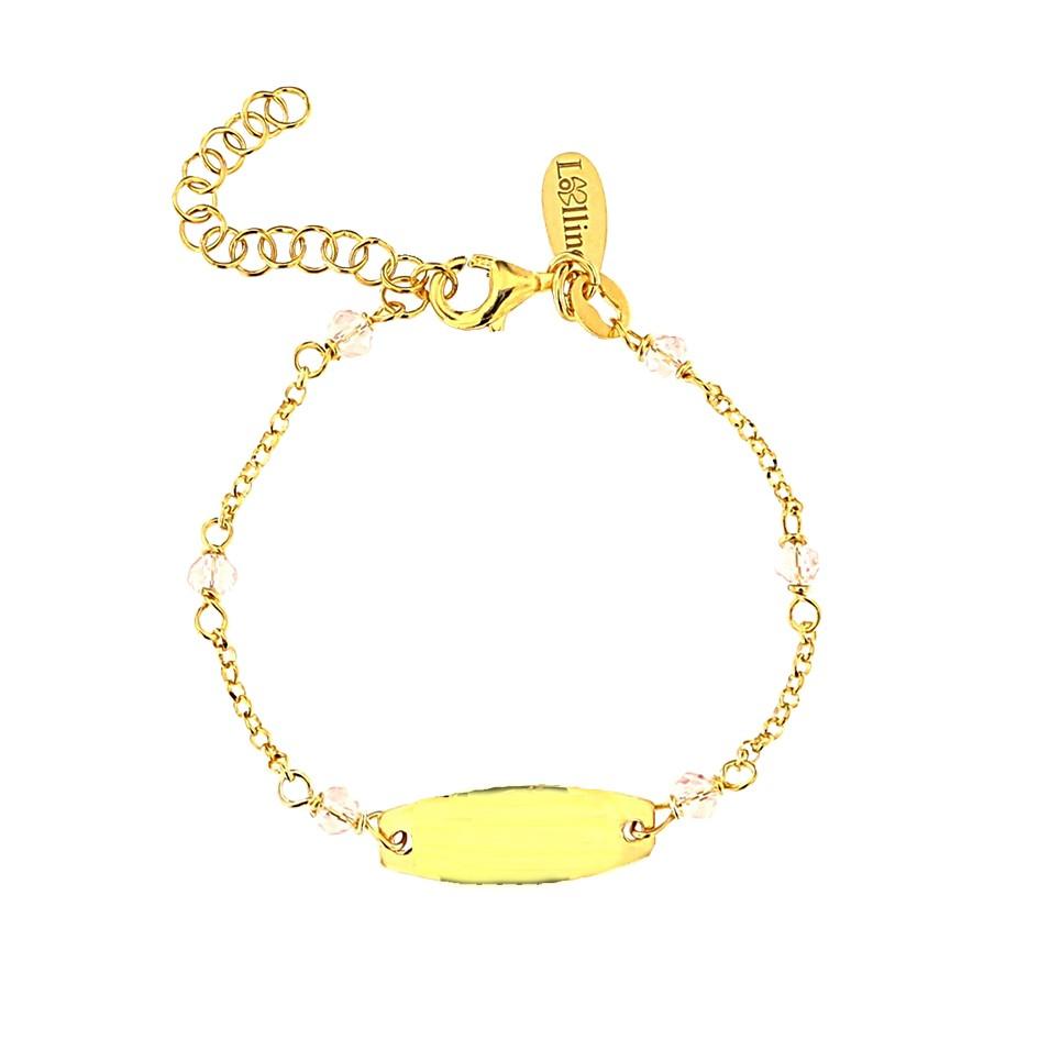 Lollino, Taufschmuck, Kinderarmband gravierbar, 925er Sterling Silber  18kt vergoldet