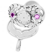 Lollino Anhänger, Motiv Sonne Mond & Sterne, strahlender Zirkonia rosa