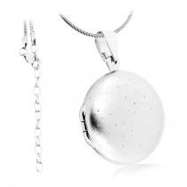 Collier Medaillon mit Diamantstaub Oberfläche