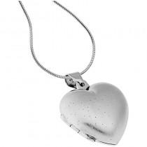 Collier Medaillon Herz mit Diamantstaub Oberfläche
