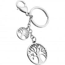 Schlüsselanhänger rund Edelstahl Lebensbaum