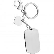Schlüsselanhänger eckig Edelstahl mit Herzchen Anhänger