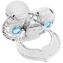 Lollino Klassik, Schatzkiste Motiv Babyschuhe strahlender Kristall blau