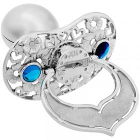 Lollino Klassik, Schatzkiste Motiv Herzen & Blumen, strahlender Kristall blau