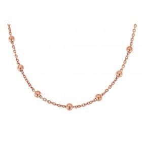 Collierkette mit Kugeln 60cm, 925er Sterling Silber 18kt rosé vergoldet