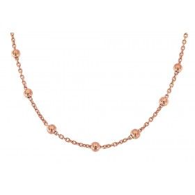 Collierkette mit Kugeln 80cm, 925er Sterling Silber 18kt rosé vergoldet